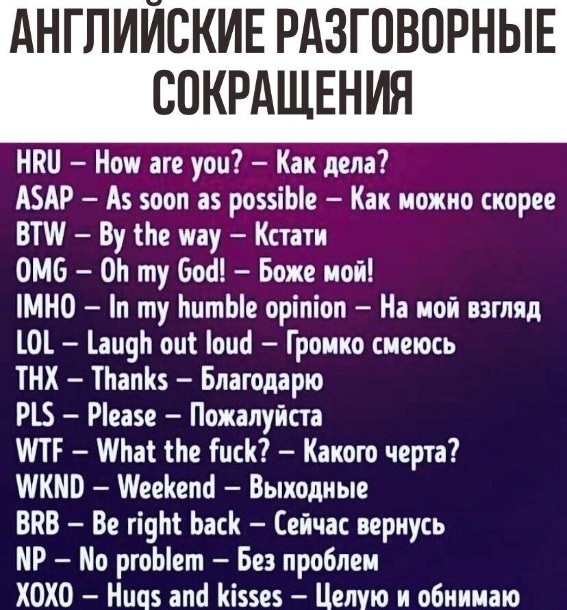 Английские разговорные сокращения