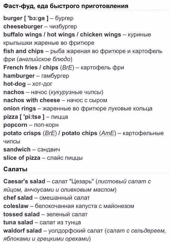 Всё об еде на английском