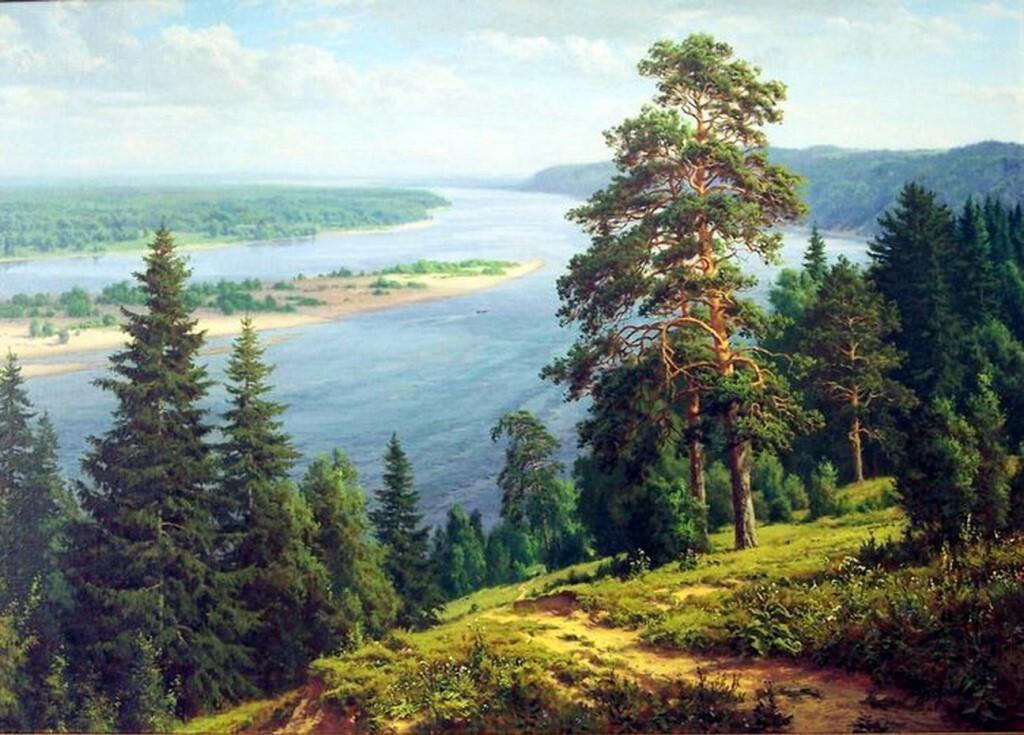 Родные пейзажи в живописи художника Сергея Басова. Люблю я мирные картины своих полей, своих лесов...