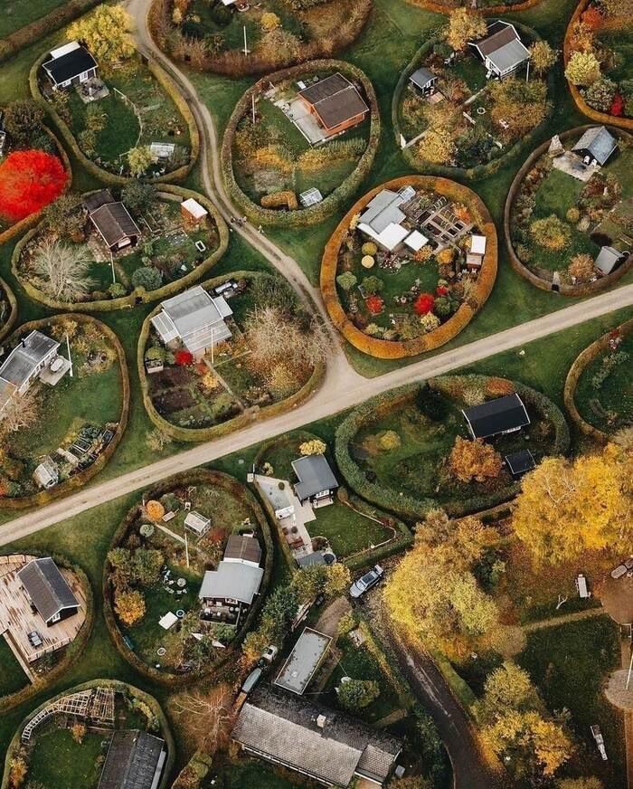 Зелёный частный сектор Копенгагена. Дания