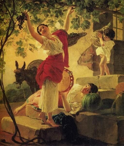 Карл Брюллов. Девушка, собирающая виноград в окрестностях Неаполя